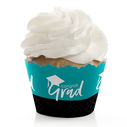 Teal Grad - Best is Yet to Come - Turquoise Graduation Party Decorations - Party Cupcake Wrappers - Set of 12