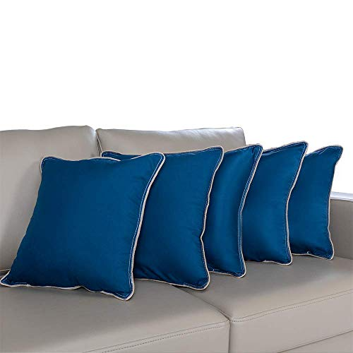 """Wakefit Hollow Fibre Cushion, 16"""" x 16"""", Dark Teal, 5 Piece (Can be Used with or Without Cover)"""