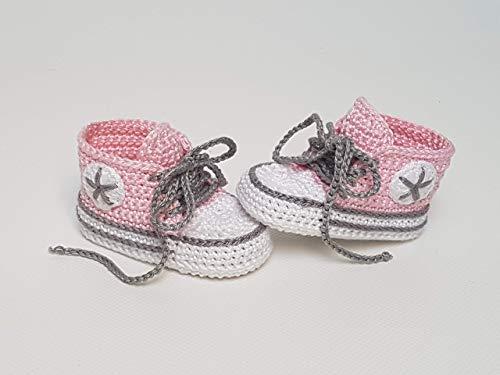 Babyschuhe gehäkelt-Sneakers-babyrosa/grau-Turnschuhe-Sportschuhe-Krabbelschuhe