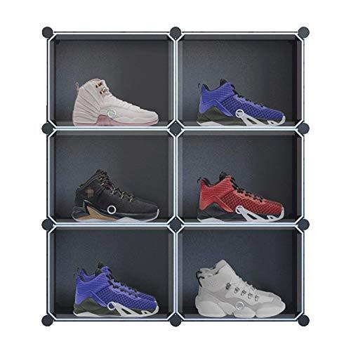 Shoe rack Organizador de almacenamiento de cubo, unidades de gabinete de bricolaje de plástico de 6 cublar, estantes modulares de estantes Organizador Armario con puerta ajustable (Color: Negro, Tamañ