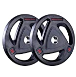 MuscleSquad Rubber Tri Grip Olympic Weight Plates sold in pairs 1.25kg to 20kg (2.5, Pair)