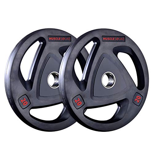 MuscleSquad Rubber Tri Grip Olympic Weight Plates sold in pairs 1.25kg to 20kg (1.25, Pair)