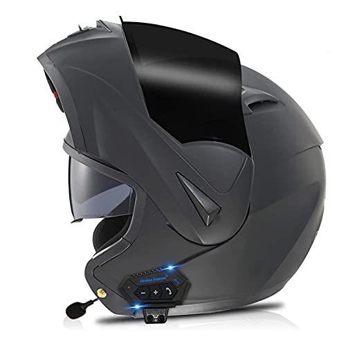 Casco Bluetooth Integrado para Motocicleta Radio intercomunicador Casco abatible para Motocicleta con Lente Doble antivaho