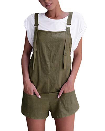 VONDA Damen Latzhose Retro Shorts Lässig Übergröße Jumpsuit Baggy Sommerhose Mit Tasche A-Armeegrün M