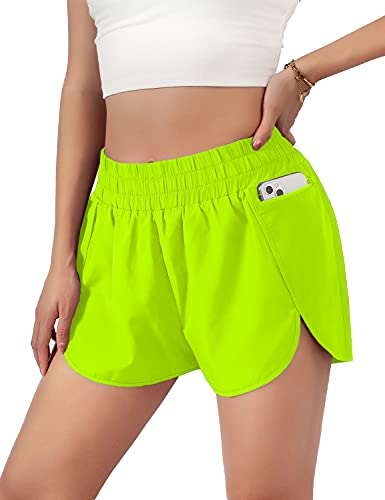 """Blooming Jelly Womens Quick-Dry Running Shorts Sport Gym Elastic Waist Athletic Workout Shorts with Pockets 1.75"""" (Small, Neon Green)"""
