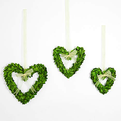 BoxwoodValley Boxwood Wreath Preserved Heart Shape Set of 3, Door Wall Hanging Window Wedding Party Decoration (Boxwood Heart Set / 3)