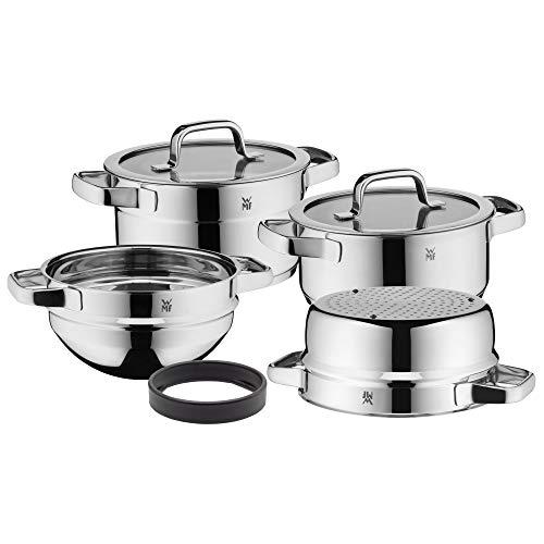WMF Compact Cuisine Topfset Induktion 4-teilig, Kochtopf Set mit Glasdeckel, Cromargan Edelstahl poliert, Töpfe Set unbeschichtet, Innenskalierung