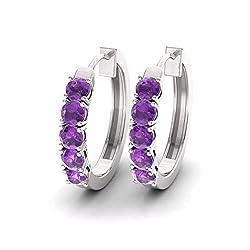 Amethyst Gemstone Huggies Earrings in 14K White Gold