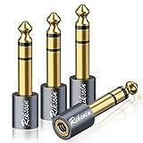 Klinke Adapter 3,5mm auf 6,35mm 4 Stück, RIKSOIN 6,35 Klinkenstecker auf 3,5 Klinken Buchse aux...