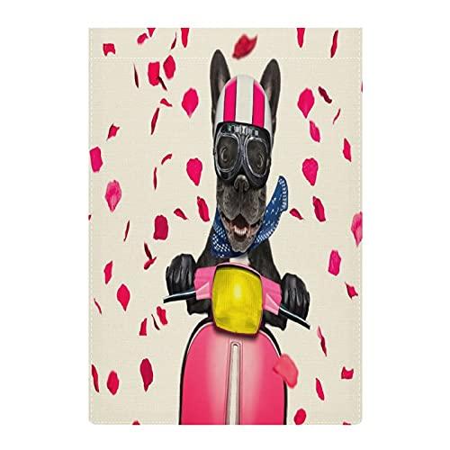 BlueKeyStudio in Love for Valentines French Bulldog Garden Flag Double Sided 12 x 18 inch for Farmhouse Yard Outdoor Decor