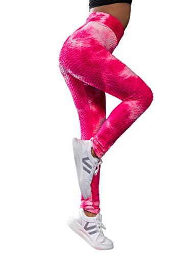 Tuopuda Leggins Donna Sportivi Anticellulite Pantaloni Fitness Vita Alta Leggings Compressione per Palestra Fitness Yoga Pants Pantaloni Push up Controllo della Pancia Opaco Elastici, Rosso Bianco, M