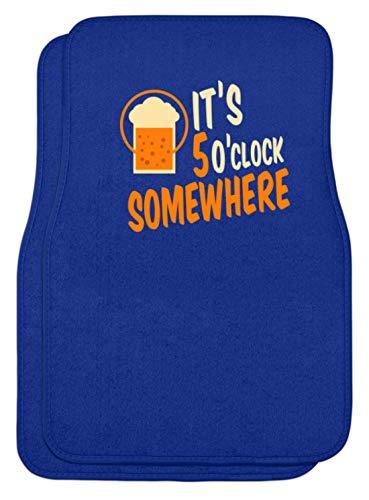 SPIRITSHIRTSHOP It's 5 O'clock Somewhere - Irgendwo Ist Es 5 Uhr - Zeit, Trinken, Bier, Alkoholiker, Glas - Automatten -Einheitsgröße-Royal Blau