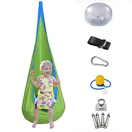 Queta Silla de Hamaca para niños Silla Pod Swing para Interiores y exteriors Columpio para niños Silla Colgante para niños en 100% algodón con Sistema de suspensión e inflado (Verde)