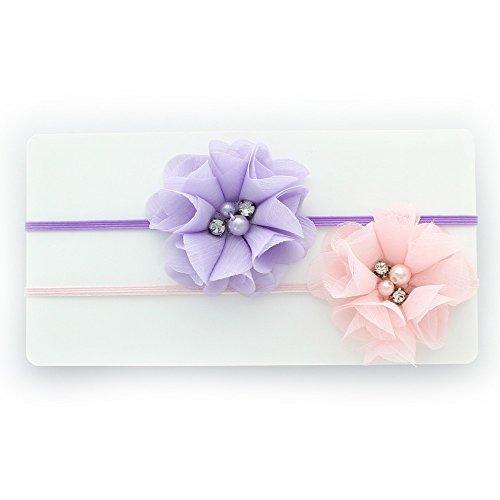 My Lello Infant Baby/Toddler Girls Flower Headbands Chiffon Beaded Flower Skinny Elastic 2 pack (Light Lavender/Light Pink)