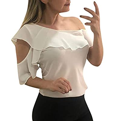 RAINED-Womens Chiffon Off Shoulder Tops Pure Color Bell Sleeve Blouses Hollow Out Tops Casual Ruffle Blouses