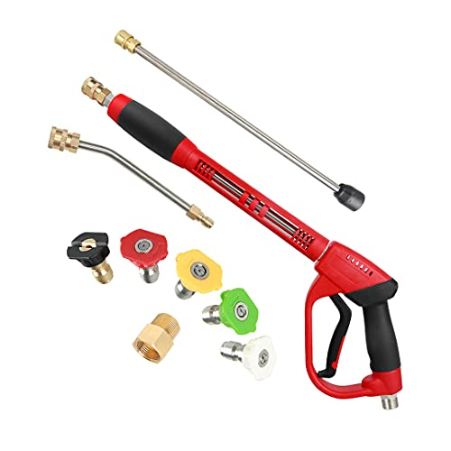 Product Image of the CHAVOR Upgraded Pressure Washer Gun with Extension Replacement Wand, M22 Fitting ,7 Inch 30 Degree Curved Rod, 5 Nozzle Tips, 5000 PSI, 47 Inch