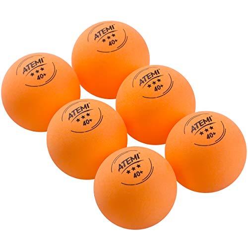 Atemi 3-Sterne-Kunststoff-Tischtennisbälle | 6-Pack, Pro 40+ Vorschrift | Für den Innen- und Außenbereich | Regulierungsstandard | Verbesserter Rückprall, Rundheit, Härte