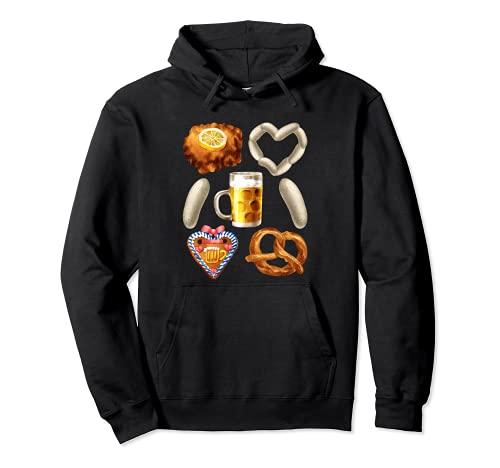 Divertido traje de Oktoberfest para mujeres y hombres - Schnitzel & Beer Sudadera con Capucha