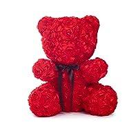 HATHOR-23 バレンタインデークリエイティブギフト、プリザーブドローズフォーエバーフラワーエターナルフラワー、レッドローズハンドメイド、記念日、バレンタインデー、卒業ギフト、3ピースベア
