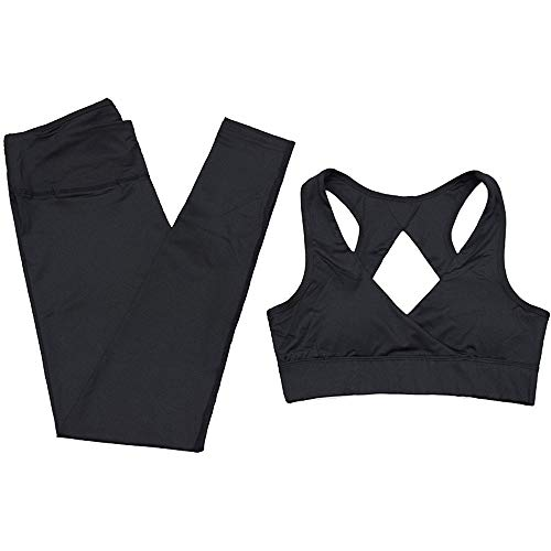 Damen Sportswear 2 Teile/Satz Fitness Anzüge, Solid Color Moisture Wicking Yoga Outfits 2-teiliges Set Workout Leggings Sexy Backless Sport-BH Crop Tops Laufen Kleidung Hosen Jogginganzug Sportbekleid