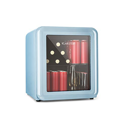 Klarstein PopLife - Frigorifero per Bevande, Minibar, 0-10 °C, 39 dB, Ecologico, Porta con Doppio Vetro, Design Rétro, Colore Blu