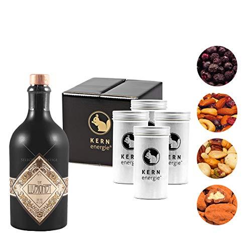 The Illusionist Gin Geschenkset | The Illusionist Dry Gin mit Heidelbeeren und Premium Nüssen von KERNenergie als edles Gin Geschenk