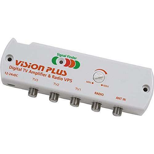 Vision Plus VP512V 3way TV DIGITAL y 1Way DAB/FM Radio Amplificador Amplificador de distribución de señal con construido en localizador de señal y ganancia variable ideal para Caravana, Autocaravana, barco etc.