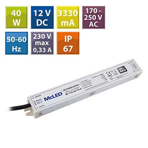 McLED voeding voor LED-lampen, 40W, 12 V.