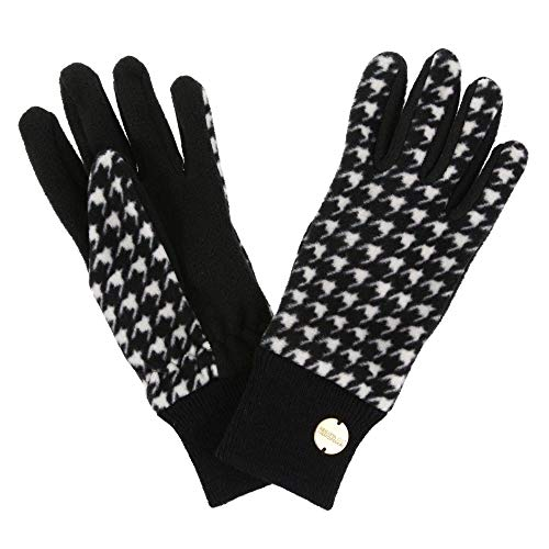 Regatta Damen Azni' Ribbed Cuffs Microfleece Gloves Handschuhe, Black Houndstooth, S/M