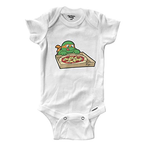 Hungry Turtles Miche Pizza Infant Baby Boy Girl Clothes Onesies Bodysuits Great Gift Cute Ninja (0-3 Months) White