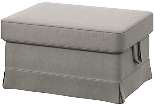 Easy Fit Ektorp Ottomanen-Bezug aus Schwerer Baumwolle, passgenau für IKEA Ektorp Fußhocker oder Hocker Durable Lighter Gray