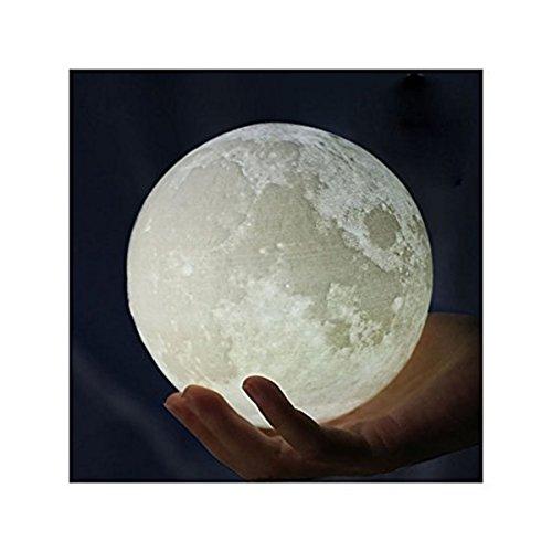 3D Mond Lampe Nachtlampe, Goldbeing Nachtlicht LED Nacht Tischlampe Kinderzimmerlampe, Moderne Skulptur 3D-Druck aus PLA Aufladbar Nightlight Geschenk für Freund Weihnachten Geburtstag (Ø:15cm)