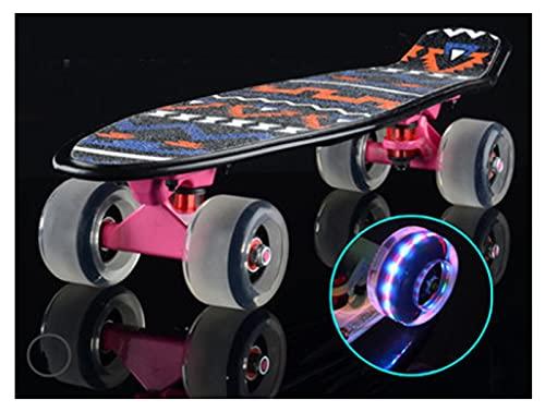 Pegatina de monopatín Skateboards, 58 cm * 15 cm Pequeño tablero de pescado para adultos u adolescentes, tablero de skate crucero de arce, incluyendo camiones, ruedas de PU de flash, patrón trasero, r