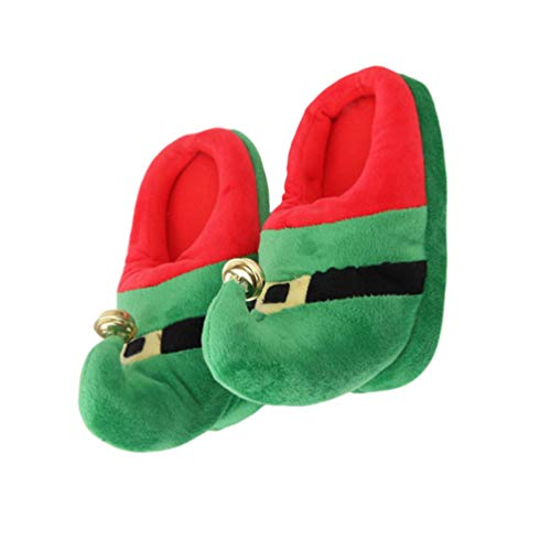 Happyyami 1 Pair Christmas Slippers Elf Costume Accessories Plush Warm Slippers Non Slip Slippers for Christmas Xmas Holiday Winter Size XL (Green)