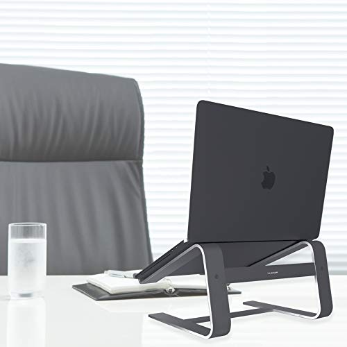 """Macally Aluminum Laptop Stand for Desk - Works with all Macbook /Pro/Air & Laptops between 10"""" to 17.3"""" - Sleek and Sturdy Laptop Riser - (ASTANDSG), Space Gray"""
