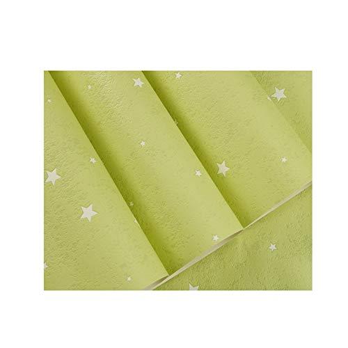 sknonr 3D Cartoon Tapete, Kinderzimmer wasserdichte und löschbare Vliestapete Mond Sternhimmel Himmel Jungen Mädchen Schlafzimmer Hintergrundwand (Color : Green)