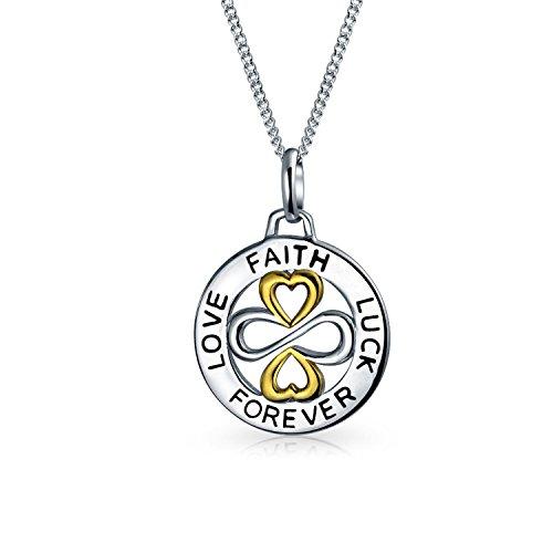 AYLLU di Fede Amore fortuna Forever disco rotondo BFF ispiratore collana pendente per Teen in due toni di argento 925