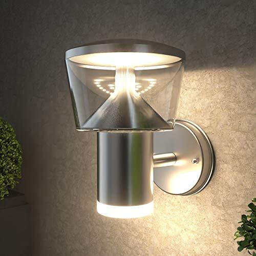 NBHANYUAN Lighting® Aussenleuchte/Außenlampe LED Wand Lampe Außen für Balkon, Garten Silber Edelstahl 3000K Warmweiß Licht 1000LM 9W IP44 (ohne PIR Sensor)