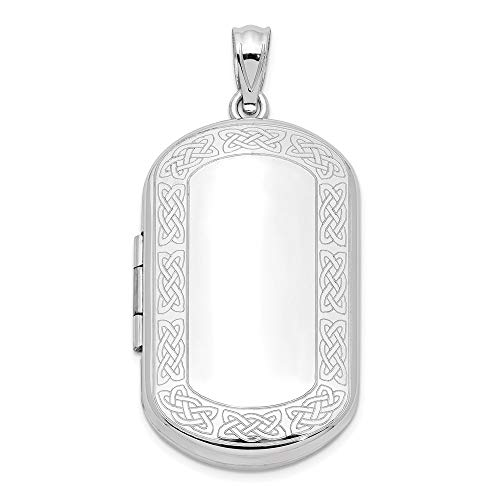 925 Sterling Silver Irish Claddagh Celtic Knot Border Rectangular Photo Pendant Charm Locket Chain Necklace That Holds Pictures Shaped Fine Jewelry For Women Gifts For Her