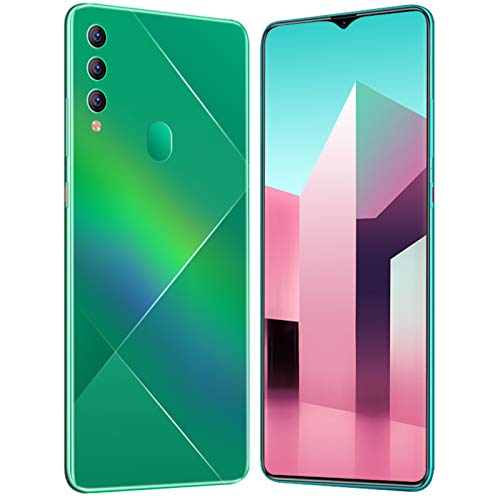 LINGZE Smartphone, 4800 mAh Batería SIM Teléfonos Android Desbloqueados, 6.7'HD + Pantalla, 8 GB ROM + 512 GB RAM, Face ID, Verde