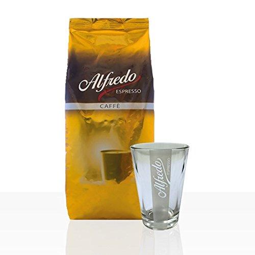 Darboven Alfredo Caffè Creme 1kg ganze Kaffee-Bohne + Alfredo Latte Macchiato Glas