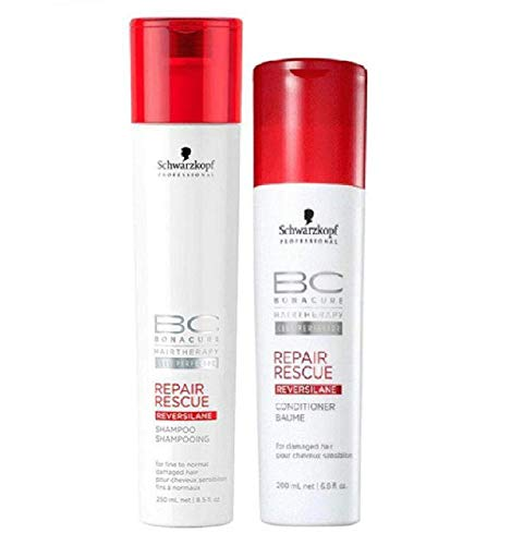 Schwarzkopf BC Bonacure REPAIR RESCUE SHAMPOO & CONDITIONER Duo SET for FINE TO NORMAL DAMAGED HAIR (8.5 oz/6.8 oz - DUO KIT)