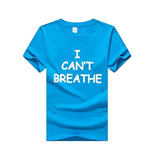 WMHNP Unisexe T-Shirt,I Can't Breathe Lettres Noir Impression Casual Comfortable Manche Courte,Coton Fashion Top L-XXXL,Blue 1,S