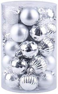 SAPU 34 piece set Christmas ball set 6cm Christmas tree decoration ball Christmas decorations Sliver
