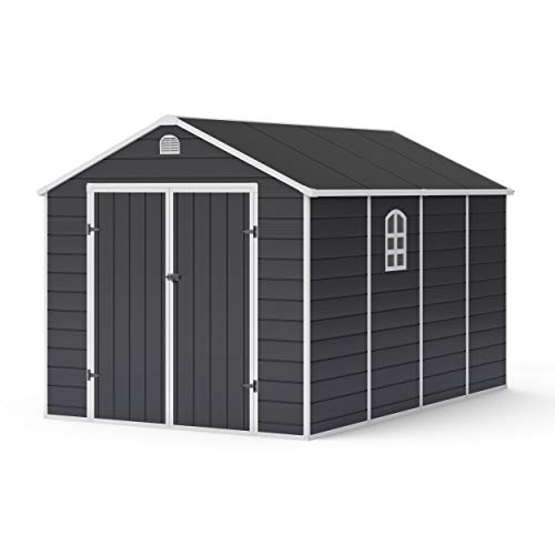 BillyOh Ashford Apex Plastic Garden Shed | Plastic Garden Storage Unit with Foundation Kit | Large Outdoor Storage | 8ft x 12ft - Grey