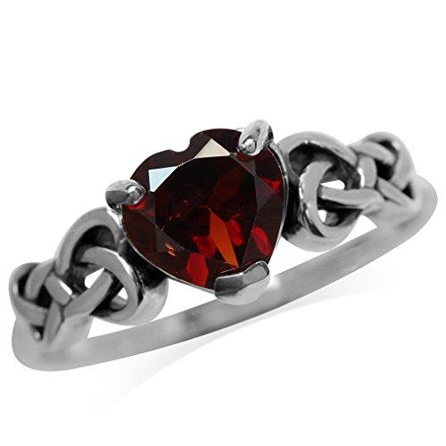 Silvershake 1.15ct. Natural Heart Shape Garnet 925 Sterling Silver Celtic Knot Ring Size 8