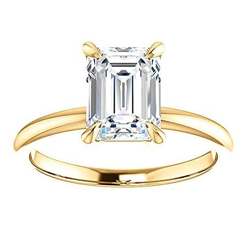 Customize Jewels Anillo de compromiso solitario de moissanita esmeralda de 4 puntas de 1,50 quilates, 8 x 6 mm, en oro amarillo de 14 k D-VVS1 7