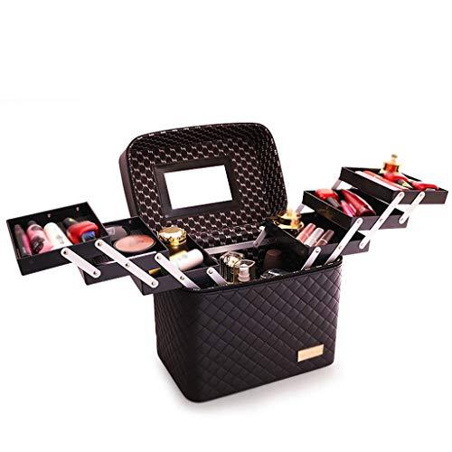 Sac cosmétique de Grande capacité Sac carré Multifonction Boîte de Rangement cosmétique Portable Multi-Couche Boîte Simple (Color : Black, Taille : 18 * 28 * 20.7cm)