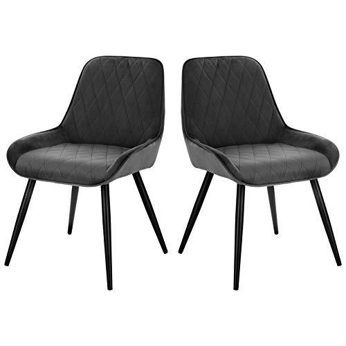 ELIGHTRY 2 Stücke Esszimmerstühle Polsterstuhl Küchenstuhl Wohnzimmerstuhl Sessel mit Rückenlehne, Sitzfläche aus Samt, Retrostuhl mit Metallbeine für Esszimmer Wohnzimmer Küche, Dunkelgrau