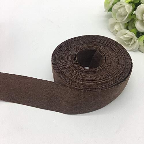 Jammas 5yards/lot 1' 25mm Elastic Ribbon Fold Over Elastics Spandex Satin Band DIY Lace Sewing Trim - (Color: Brown)